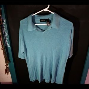 Claiborne teal textured polo